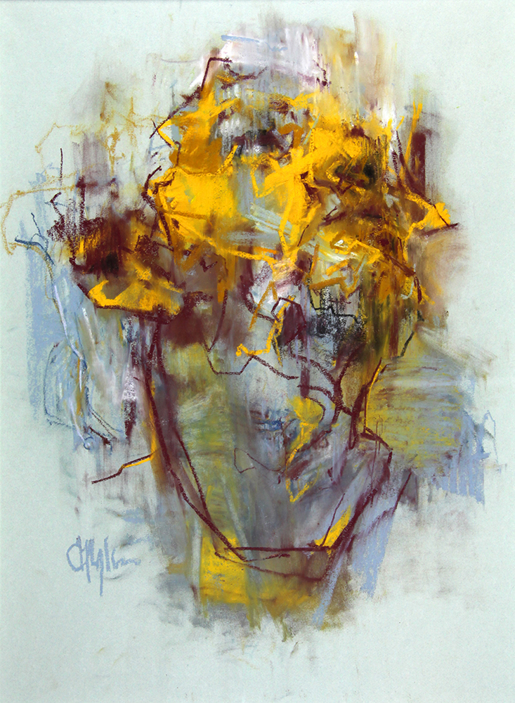 Tronie - Yellow Drawing , chalk on paper , 27 x 20 inches