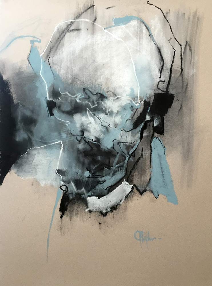 Tronie - Old Man , chalk on paper , 32 x 23 inches