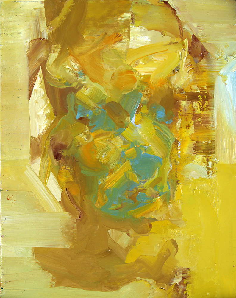 Tronie - Yellow and Blue Head , oil on canvas, 14 x 11 inches