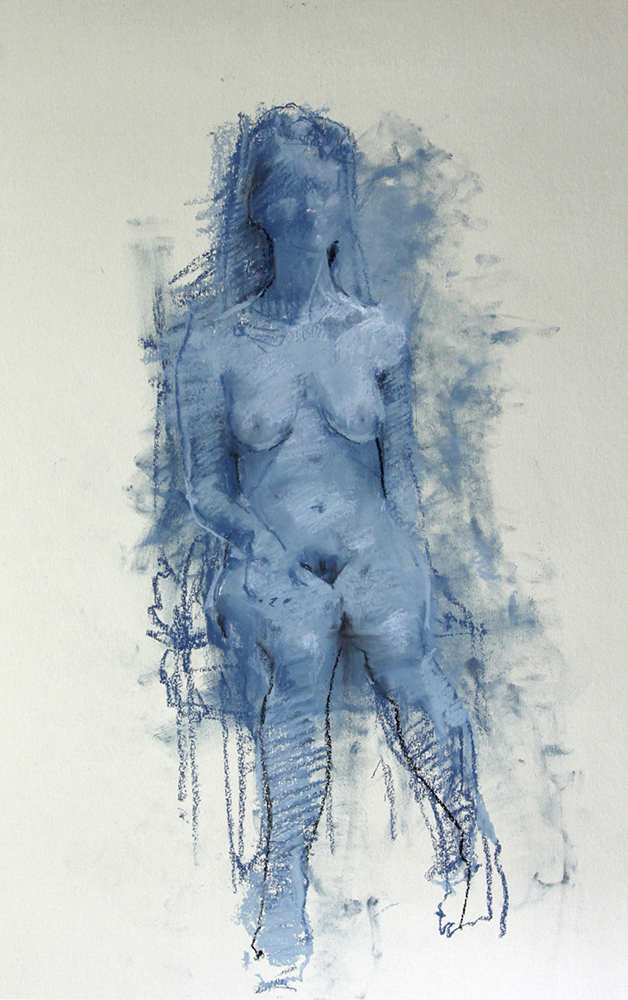 Blue Figure chalk on paper , 22 x 17 inches