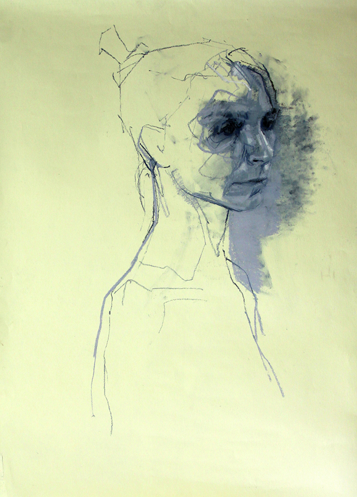 Blue Dancer chalk on paper , 33 x 22 inches