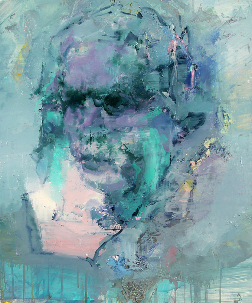 Tronie - Green and Violet Head, oil on board , 24 x 20 inches