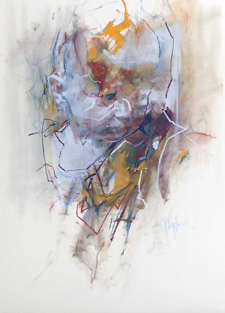 Head - chalk on board , 33 x 22 inches
